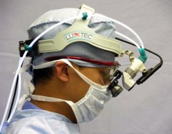 Surgeon with headlight camera
