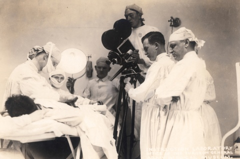 Operation for hernia, Walter Reed Hospital, showing motion picture camera in action, 1918.
