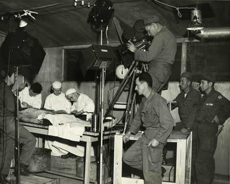 Filming autopsy during the Korean War.