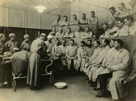 Surgery in observation theater. Undated.